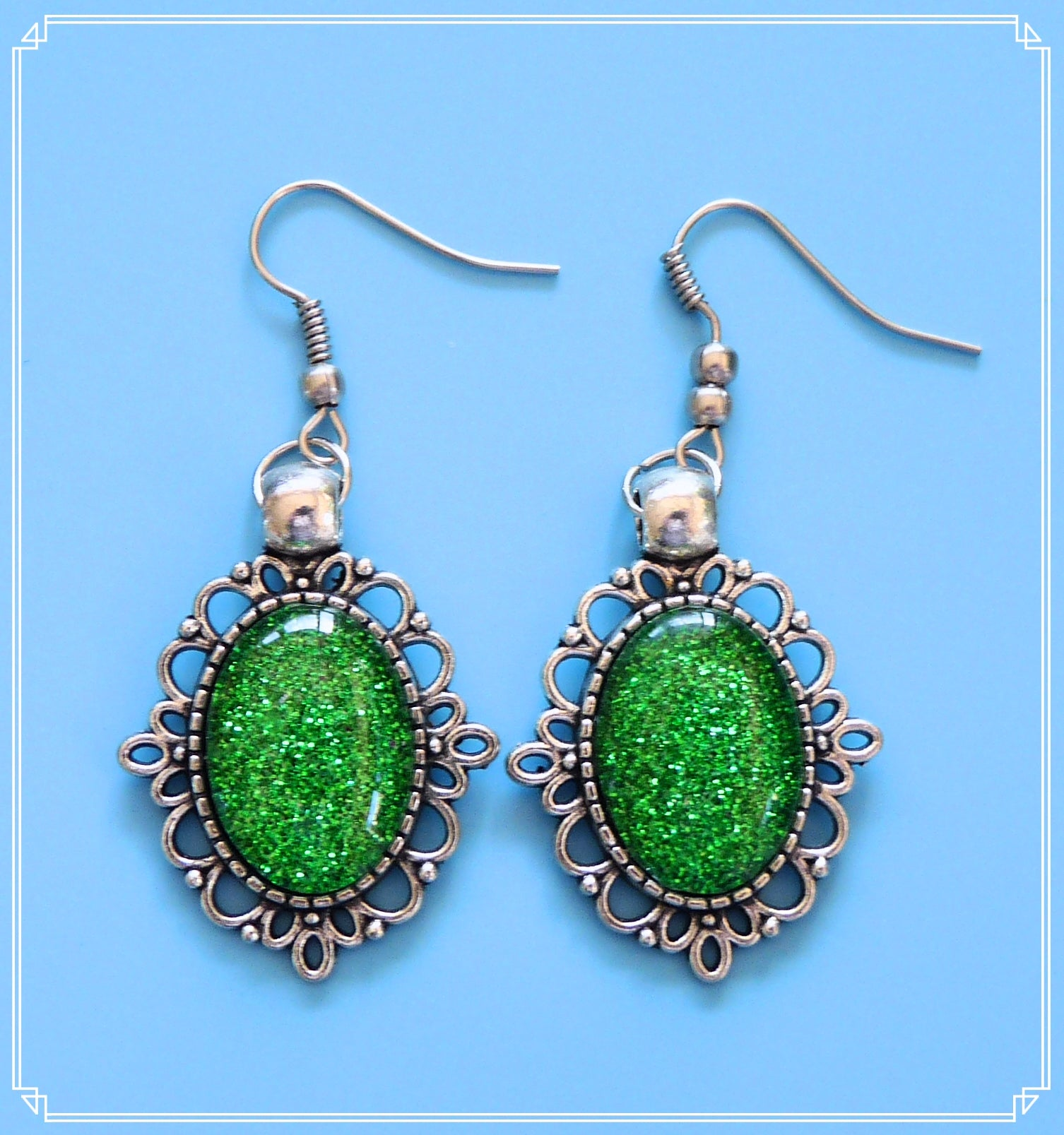 The green glitter drop earrings in silver setting are part of my Colour Your World collection.