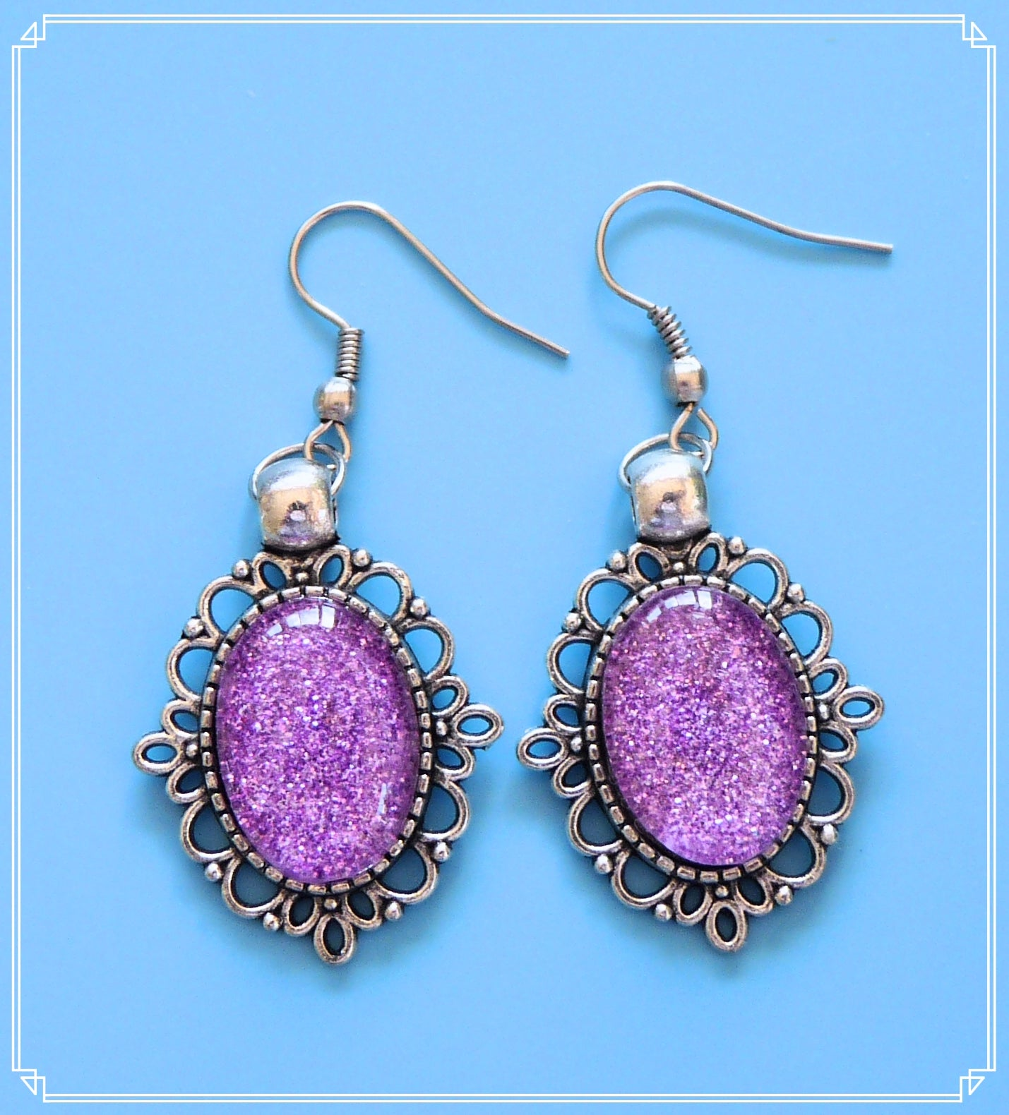 The purple glitter drop earrings in silver setting are part of my Colour Your World collection.