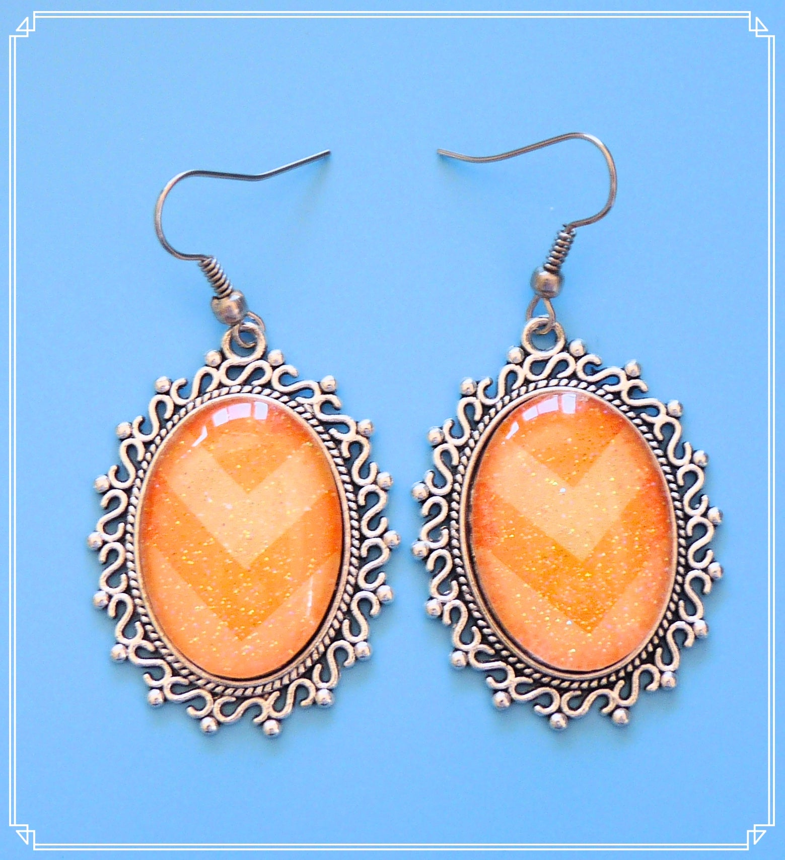 Zest statement drop earrings are orange glitter chevron and part of my Colour Your World collection.