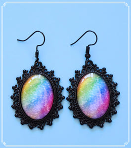Spectrum statement drop earrings are a rainbow textured image and part of my Colour Your World collection.