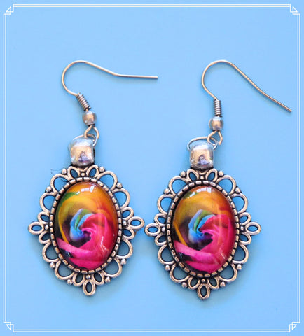 Rainbow Rose drop earrings, part of my Colour Your World collection.