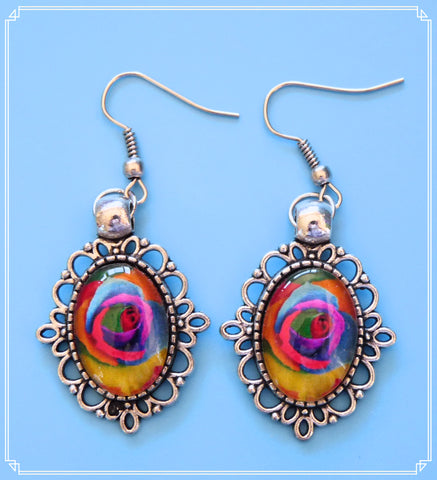 Dark Rainbow Rose drop earrings, part of my Colour Your World collection.