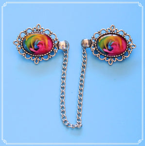 Rainbow Rose cardigan clips, part of my Colour Your World collection.