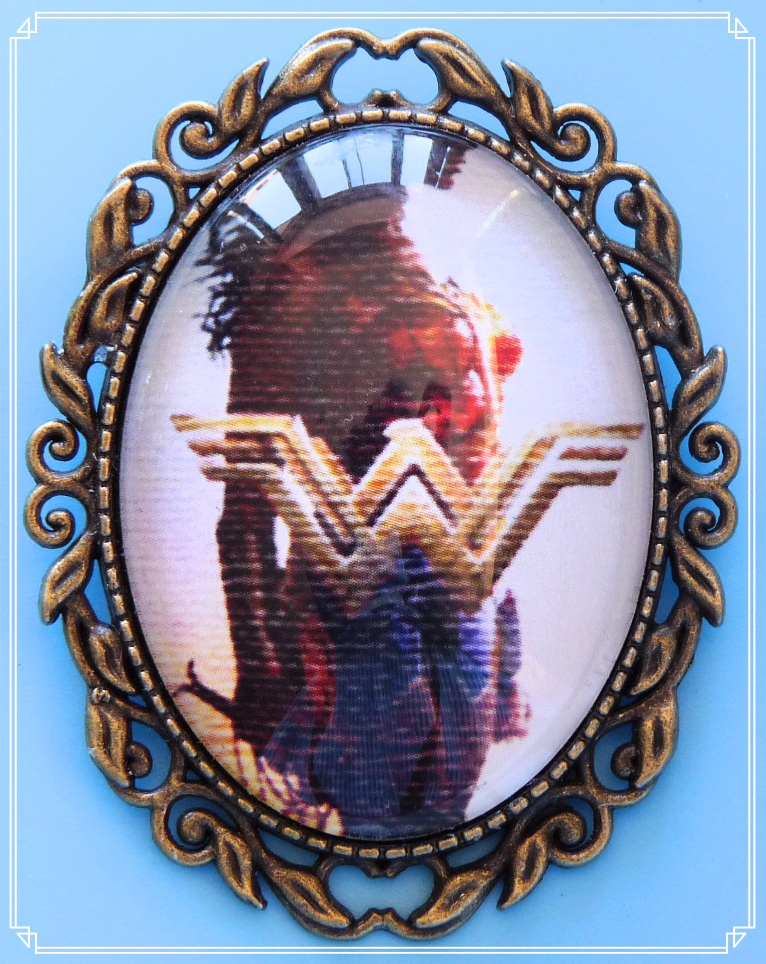 Inspired by the new Wonder Woman movie I created this brooch and called it Diana of Themyscira. The image has a texture similar to canvas or linen.