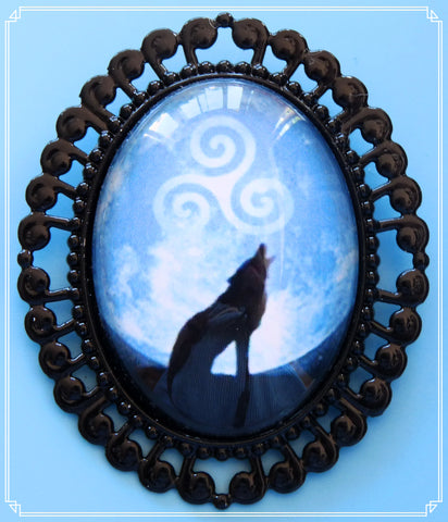 The By the Light of the Moon brooch is part of my Fantasy collection and inspired by the TV show Teen Wolf.