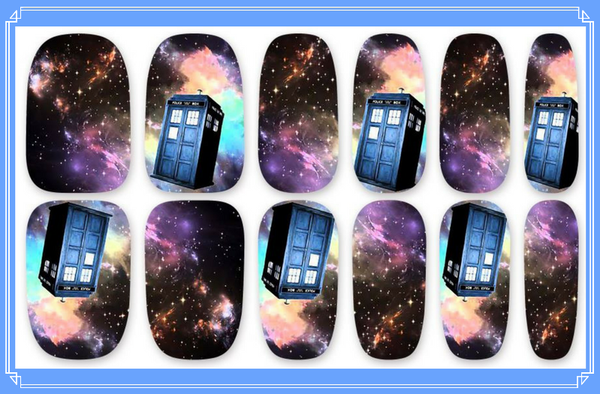 Nail Wraps - Police Box hurtling through the galaxy, for the Dr Who fans.   Please note that depending on the length of your nails part of the design may not show.
