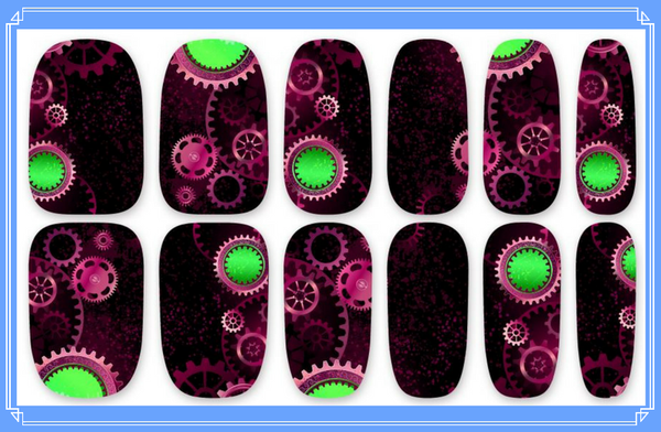 Nail Wraps - Steampunk design with a pinky purple base and lime green accents.   Please note that depending on the length of your nails part of the design may not show.