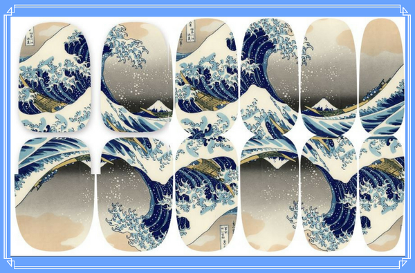 Nail Wraps - The Great Wave off Kanagawa, also known as The Great Wave or simply The Wave, is a woodblock print by the Japanese ukiyo-e artist Hokusai.    Please note that depending on the length of your nails part of the design may not show.