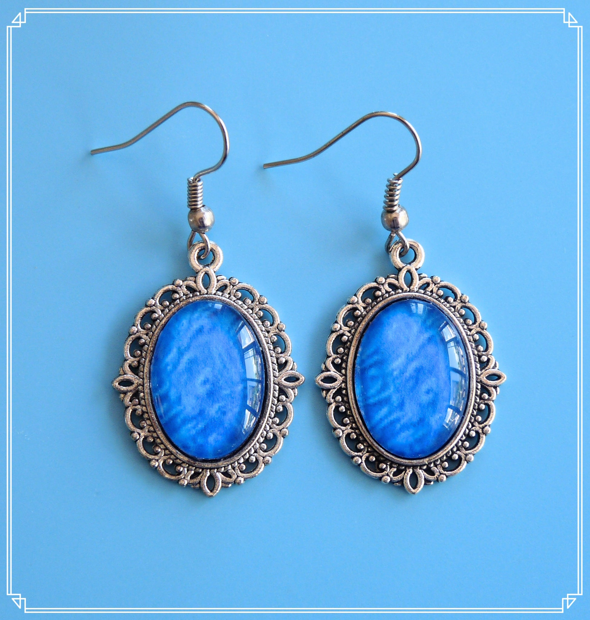 Calm (blue brocade drop earrings are part of my Colour Your World collection.