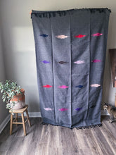 Handwoven Mexican Thunderbird Falsa Blanket in Charcoal Gray