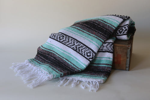 Handwoven Mexican Traditional Striped Falsa Blanket in Mint Green