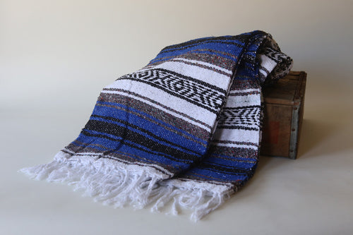 Handwoven Mexican Traditional Striped Falsa Blanket in Royal Blue
