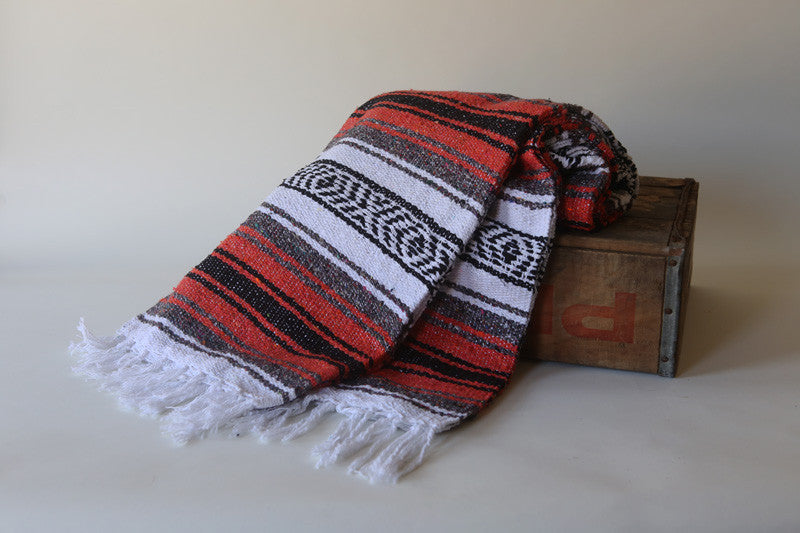 Handwoven Mexican Traditional Striped Falsa Blanket in Burnt Orange / Rust