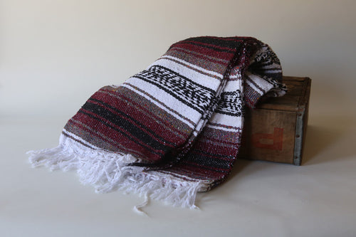 Handwoven Mexican Traditional Striped Burgundy Falsa Blanket