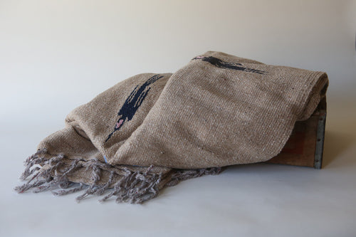 Handwoven Mexican Thunderbird Falsa Blanket in Neutral Camel Tan