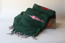 Handwoven Mexican Thunderbird Falsa Blanket in Alpine Forest Green