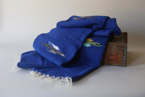 Handwoven Mexican Thunderbird Falsa Blanket in Royal Blue