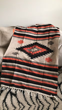Handwoven Heavy Mexican Diamond Blanket in Warm Earthtones