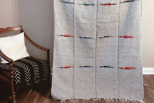 Handwoven Mexican Thunderbird Falsa Blanket in Light Gray