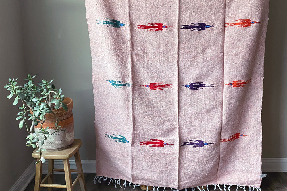 Handwoven Mexican Thunderbird Falsa Blanket in Peachy Pink