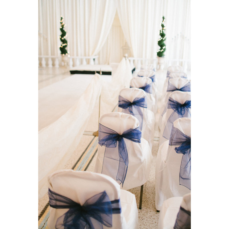 100 Navy Organza Chair Sashes