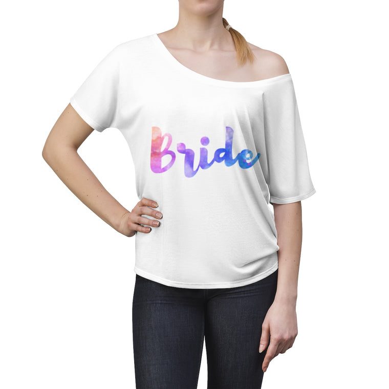 Bride Women's Watercolor Slouchy Off Shoulder Top