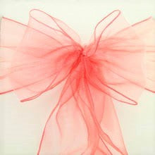 20 Coral Organza Chair Sash