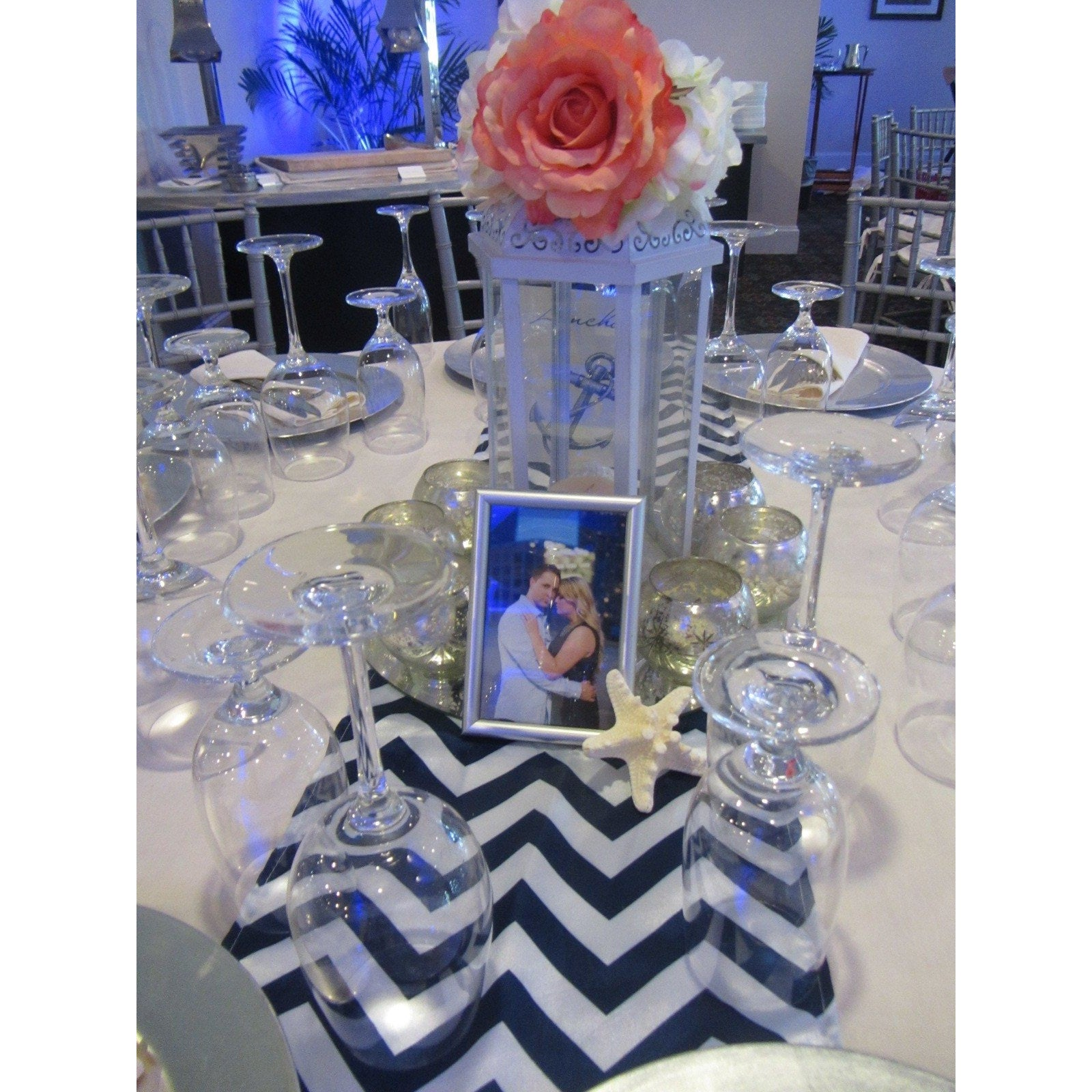 5 Silver & Navy Blue Chevron Table Runners