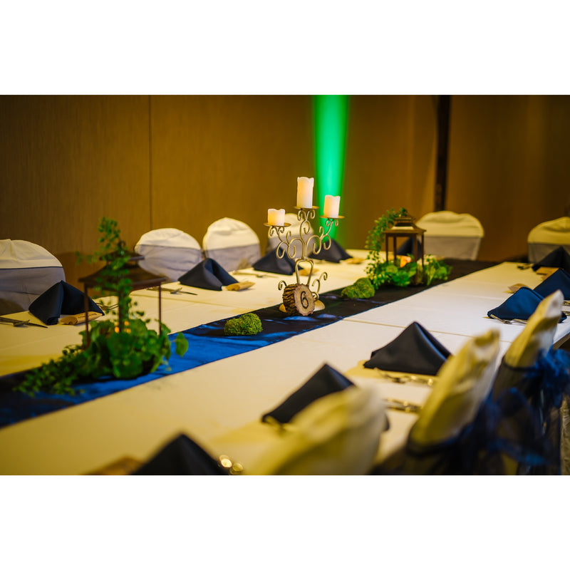 5 Navy Blue Satin Table Runners