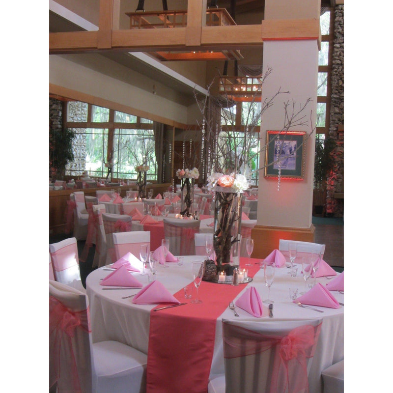 20 Coral Organza Chair Sashes