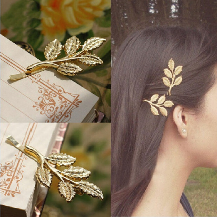 2pcs Golden 5 Leaf Hairpin Fashion Bridal Headdress Olive Leaf Tree Leaves Hair