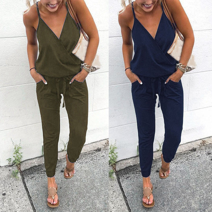 Women Pocket Off Shoulder V Neck Sleeveless Rompers Jumpsuit