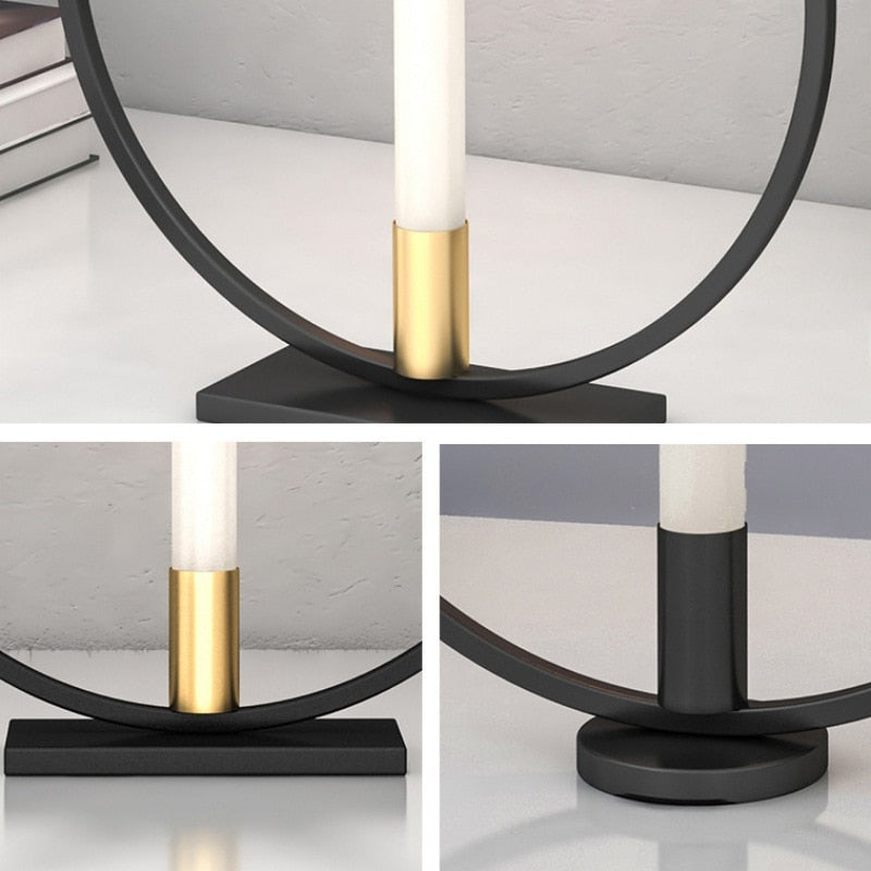 Ring Shape Metal Iron Candle Holder Decorative Candlestick for Party Wedding Dining Centerpiece Table Ornaments Home Decor  A01