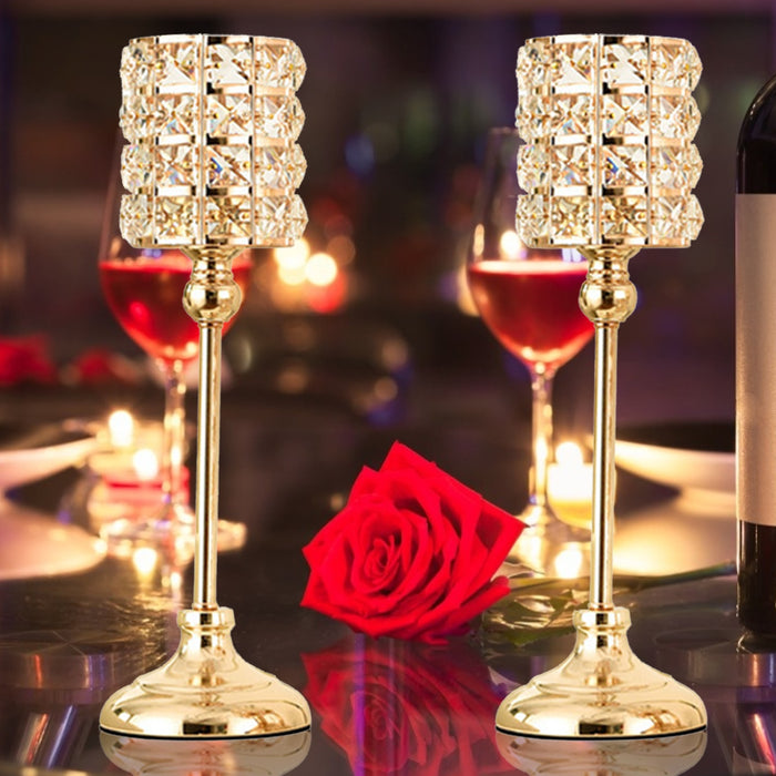 Crystal Candle Holder Elegant Gift Candlestick Tabletop Candle Stand Wedding Decoration Candelabra Dining Room Decor