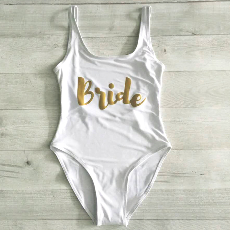 BRIDE Swimsuit White Gold Bride Whole Piece Bathing Suit