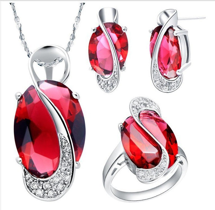 Wedding Bridal Jewelry Set Crystal Stud Earrings Ring Necklace Costume Jewelry Sets