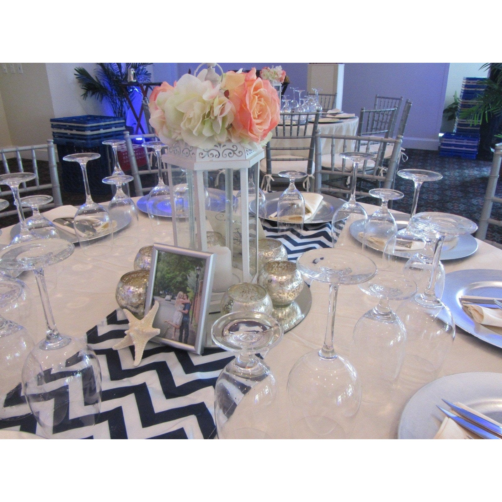 products runners blue boomerang table navy silver chevron bridal
