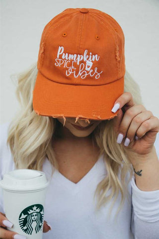 Pumpkin Spice Vibes Embroidered Distressed Baseball Hat