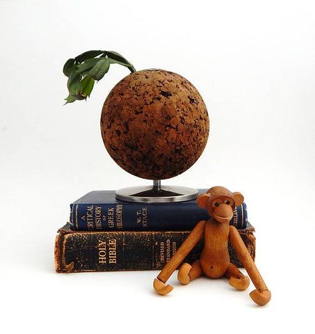 vintage cork ball pencil holder