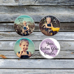 Personalized Round Glass Photo Coasters - Handmade in Harrisburg