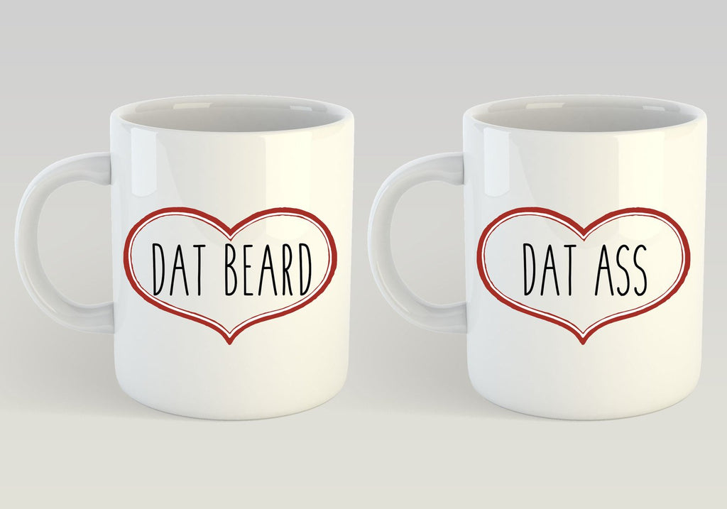 Gifts for Boyfriend, I Like His Beard, I Like Her Butt, Funny Coffee Mugs, Dat Ass, Dat Beard, Gifts for the Couple, Valentines Day Gift