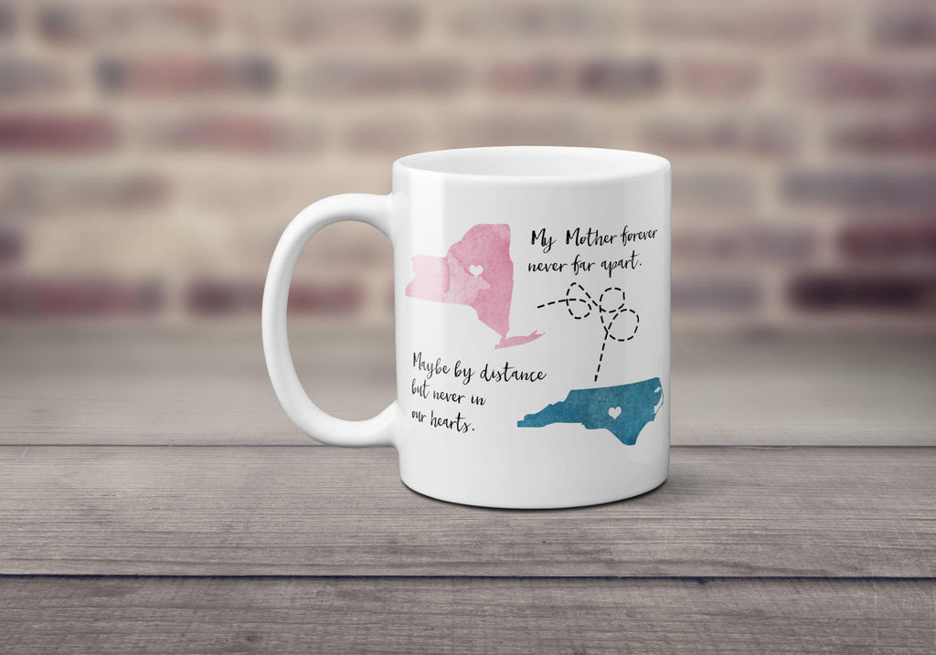 Mom, State Mug, Long Distance Mug, Personalized, All States Available, Gift for Mom, Mothers Day Gift, Birthday Gift, Gift for Her