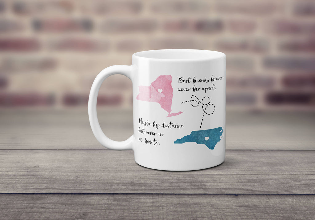 Best Friends, State Mug, Long Distance Mug, Personalized, All States Available, Gift for BFF, Best Friend Gift, Birthday Gift, Gift for Him