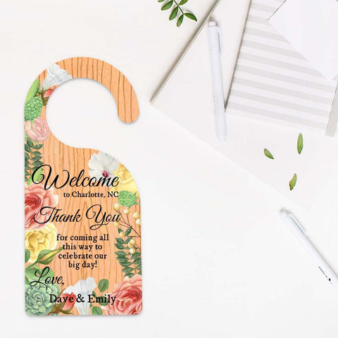 Wedding Welcome Bag, Door Hanger, Destination Wedding, Wedding Favors, Welcome Bags, Tags, Wedding Door Hangers, Thank Yous, Hotel Door Tags