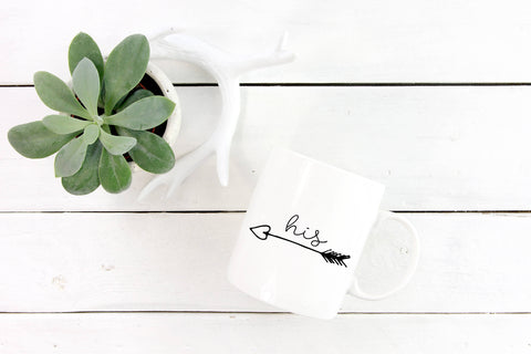 Valentine's Day Gift, Boyfriend Gift, Girlfriend Gift, His and Hers Mugs,  Arrows, Love, Gift for Her, Gift for Him, Coffee Mugs