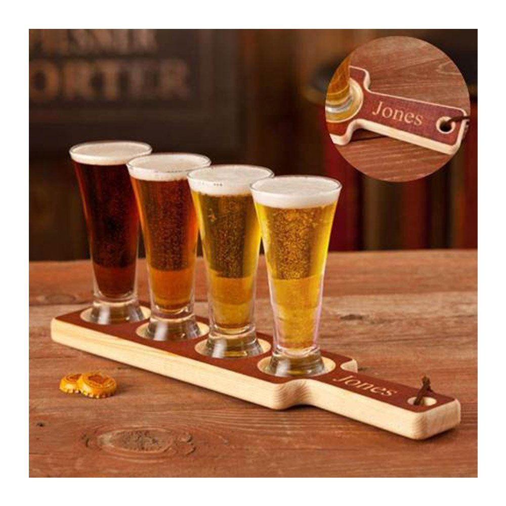 Personalized Beer Flight Set, Great Gift for Beer Lovers, Custom Beer Flight Set, Beer Tasting Set with Mini Pilsner Glasses, Beer Flight