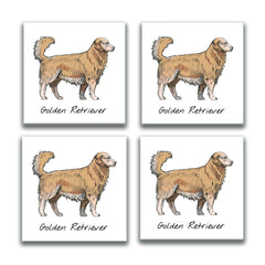 Golden Retriever Coasters, Glass Coasters, Golden Retriever Coaster Christmas Gift, Custom Picture Coasters, Gift for Her, Golden Retriever