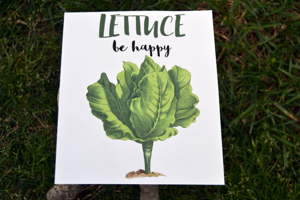 Lettuce Be Happy - Lettuce Print - Vegetable Print - Salad Pun - Kitchen Print - Vegetable Print - Kitchen Art Print - Vegetarian Print