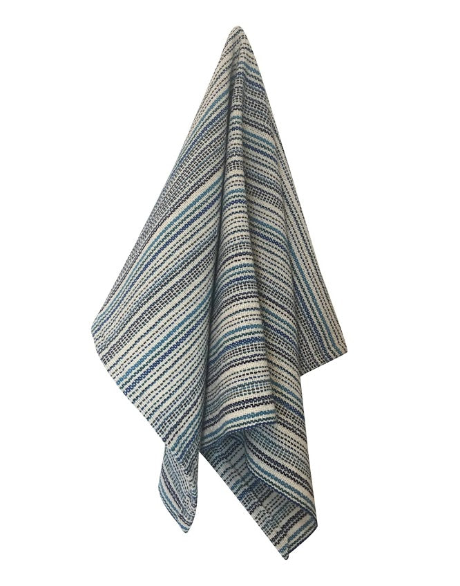 Modern Stripe Tea Towels - Blues + Natural