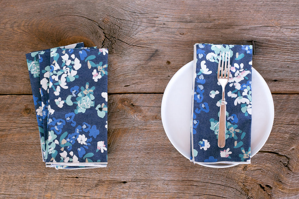 Floral Denim Napkin, set of 4
